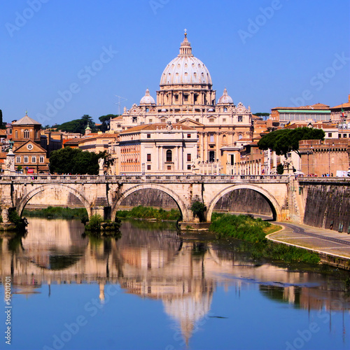 View of the Vatican across the Tiber River of Rome, Italy
