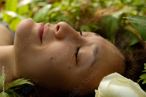 Beautiful Young Relaxed Woman Face