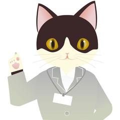 スーツのはちわれ猫 指を指す