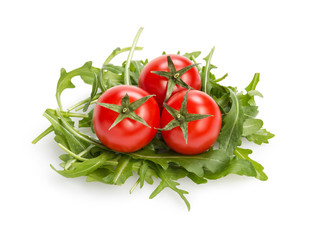 fresh rucola leaves with cherry tomatoes