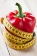 Fresh bell pepper with a centimeter, healthy eating concept