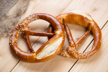 Freshly baked german brezels or pretzels, horizontal shot