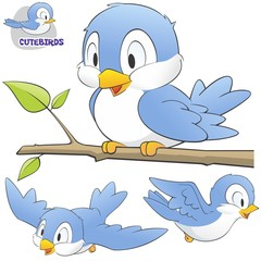 A Set of Cute Cartoon Birds