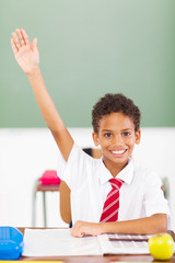 elementary schoolboy arm up in classroom