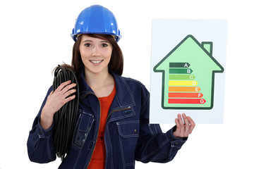 A female electrician promoting energy savings.
