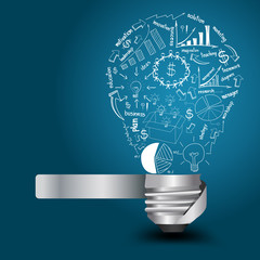 Creative light bulb with drawing business strategy plan concept