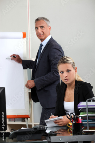 Boss explaining theory to assistant