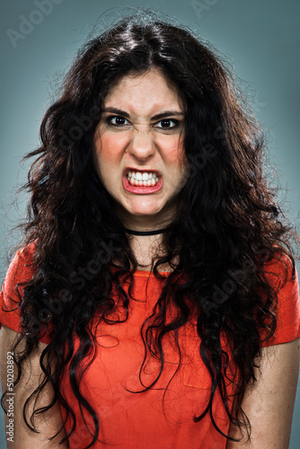 Young Woman with Furious Expression