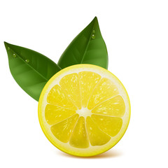 fresh ripe lemon with leafs