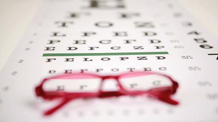 Focus shot on glasses lying on eye test