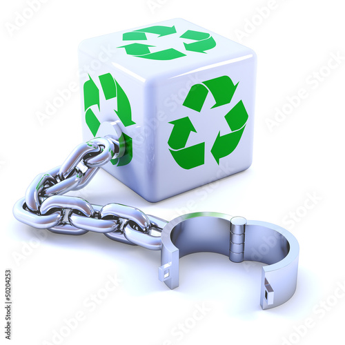 White cube with recycle symbol and chain
