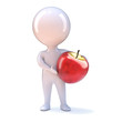 Little man holds a big red apple