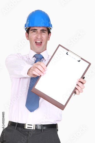 Ecstatic man in a hardhat with a blank clipboard
