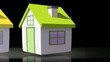 Animation of houses appearing with roofs representing BER rating