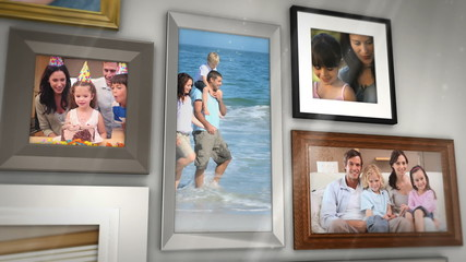 Montage of families having fun together