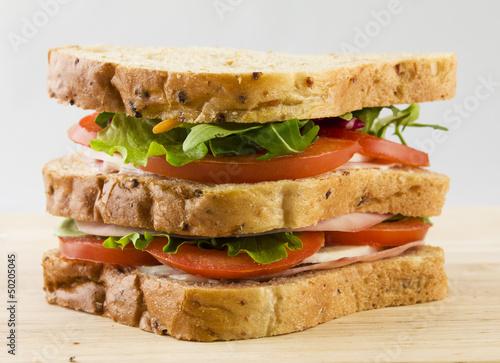 sandwich pomodoro, formaggio, insalata su sfondo neutro