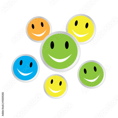 Color smiley faces with reflection on white