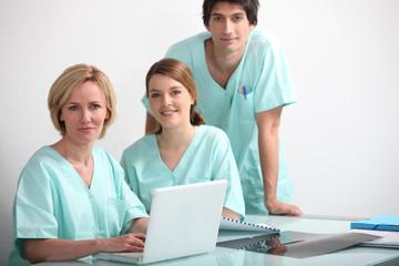 Studio shot of a hospital nurses station