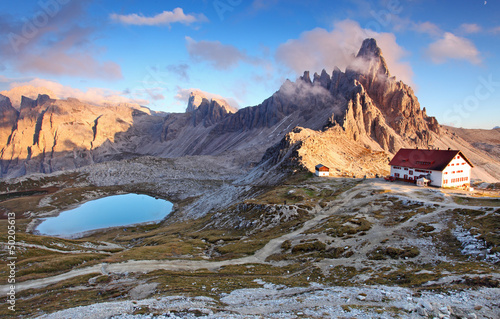 Beautiful mountain nature landscape with top Paterno in Italy Al