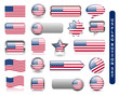 US FLAG ICON SET (usa united states of america icons stars)