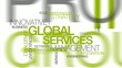 Global services management word tag cloud animation