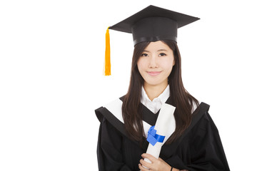 beautiful smiling Graduate woman with Degree