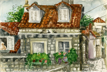 small house with tiled roof in Dubrovnik