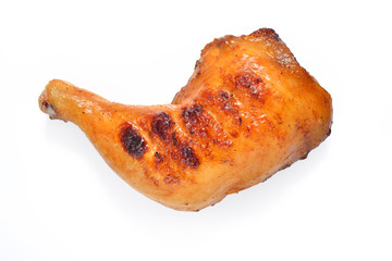 Grilled chicken thigh on white background.