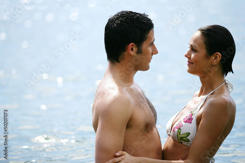 couple embracing in the water