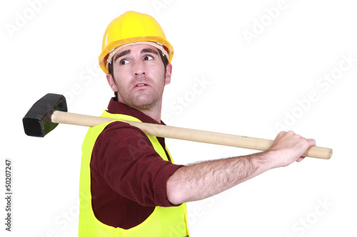 Worker with shoulder harness