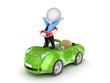 3d small person with a lifebuoy on a car.