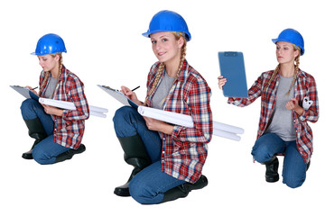 Female architect crouching
