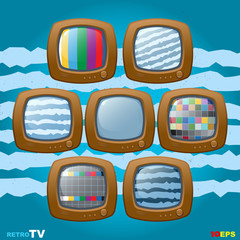 retro TV mini set icon