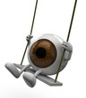 eyeball with arms and legs on a swing