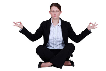 Employee relaxing in a yoga position