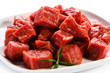 Raw beef and vegetables on white background