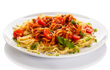 Fototapety Pasta with meat, tomato sauce, parmesan and vegetables