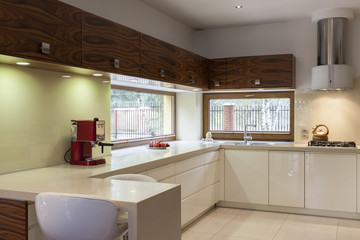 White kitchen with wooden furniture