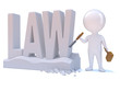 "Little man carves the word ""LAW"" in stone"