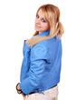 beautiful teenage girl in blue jacket posing
