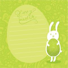 Cute vector background. Easter bunny hold ornate easter egg.