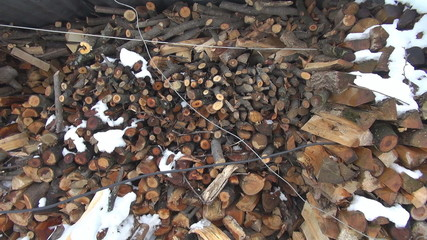 Panoramic view of a stock of wood chips