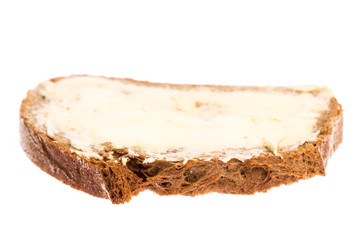 Ein Butterbrot auf weißem Hintergrund