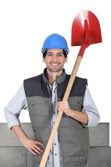 Mason with shovel