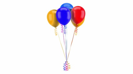 multicolored party balloons with ribbons loop rotate on white
