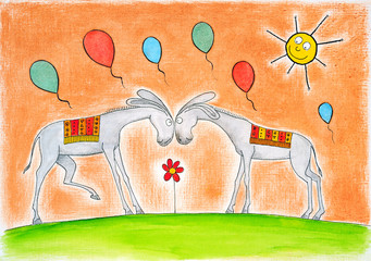 Happy donkeys with balloons, child's drawing, watercolor