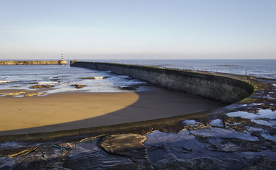 Pier of Seaham port with lighthouse