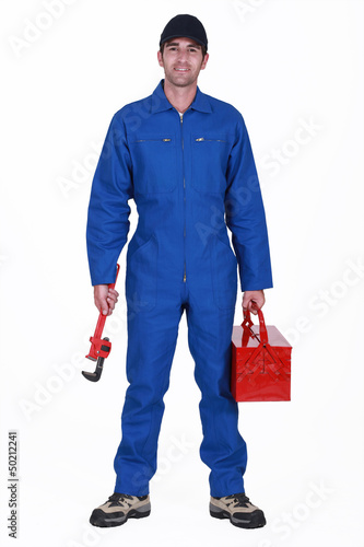 Plumber arriving at work