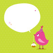 Pink Bird Cupcake Speech Bubble Green Dots