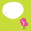 Pink Bird Leg In Plaster Speech Bubble Green Dots